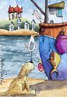 ACEO Contemporary Original Watercolour Painting Beach Hut~Dog~Boat~Snail~Fish