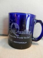 Motorola Clear Blue Etched Glass Mug, Quality Means the World, Globe