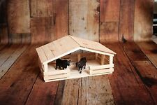 Handmade Toy Covered Horse and Animal Stable by E-S Farm Toys