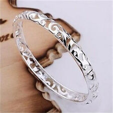 LADY GIRL 925 SOLID STERLING SILVER JEWELRY HOLLOW BRACELET BANGLE XMAS GIFT