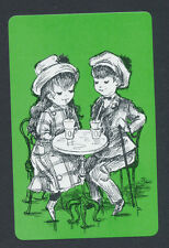 children having sodas green background playing card single swap Joker - 1 card