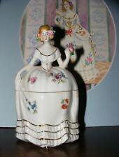 * Crinoline Lady Powder Box Vanity Dresser Jar * Figurine Porcelain Japan *