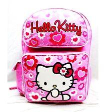 "Sanrio Hello Kitty Fullbody Shine Flowers 16"" Canvas Pink Grils School Backpack"