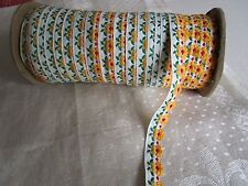 Vintage Flower trim Golden Yellow red green white tape embroidered ribbon 4yd