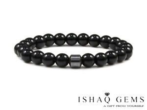 Natural Black Agate Stone and Haematite Beaded Men's Bracelet Gift's For Him