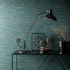 Grasscloth Saffiano Wallpaper Deep Teal Blue Paste The Wall Embossed Vinyl