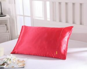 25 Momme Faux Silk Satin Charmeuse Pillowcase Smooth and Soft Red Colour