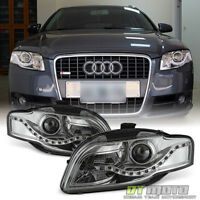 2006-2008 Audi A4 S4 B7 SMD LED DRL Halogen Type Projector Headlights Left+Right