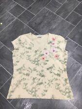 NEXT Talla 16 Beige/Verde Stretch Top/Camiseta con Flores Bordadas & Con Cuentas