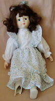 "Vicky 16"" Porcelain Girl Doll - BROKEN FOOT Soft Body Brown Hair w/Dress & Pants"