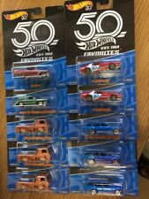 HOTWHEELS 2018 50th Anniversary Favorites 10 Car LOT New Case FLF35-956A