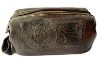 Vintage Mexican Brown Hand Tooled Leather Dopp Kit Toiletries Bag 1980s Indian