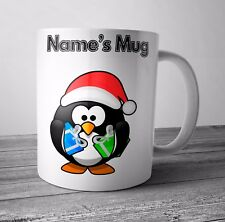 Personalised Mug / Cup - Penguin - Christmas Gift / Secret Santa  - Any NAME