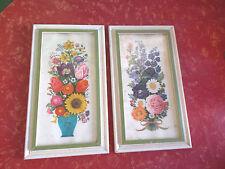 """2-Vintage 1960's Framed Floral Flower Pictures  7 3/4"""" X 13 3/4"""""""