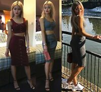 Womens 2 Piece Set Party Bodycon Midy Dress Ribbed Stretchy Skirt Knit Crop Top