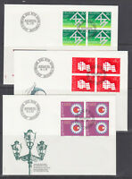 Switzerland Mi 1214/1241, 1982 issues, 6 complete sets in blocks of 4 on 18 FDCs