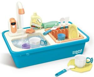 Childrens Toy Kitchen Sink With Running Water Dishwashing Kids Role Play Set 839