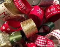 CHRISTMAS RIBBON BUNDLES 5 x 1M GIFT WRAPPING, WREATHS, DECORATIONS, CRAFTS