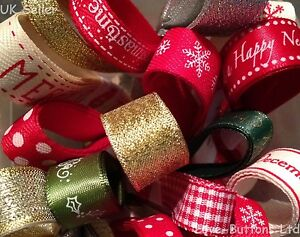 CHRISTMAS RIBBON BUNDLES 5 x 1M PACK GIFT WRAPPING WREATHS DECORATIONS CRAFTS