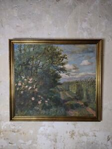 Beautiful Large Framed Impressionist Landscape Oil Painting, Signed & Dated 1943