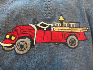 NWOT gymboree 7 Boys Firehouse Hounds Fire truck Sweater RARE Vintage Cardigan