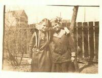 Vintage 1910's RPPC Postcard - Two Cute Girls Dressed Up Photo Suburban Yard