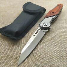 """Couteau en bois pliant couteau de poche tactique militaire damas de 7.4"""" Camping"""