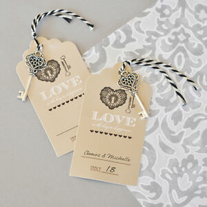 24 Key To Happiness Vintage Wedding Escort Tag Seating Card
