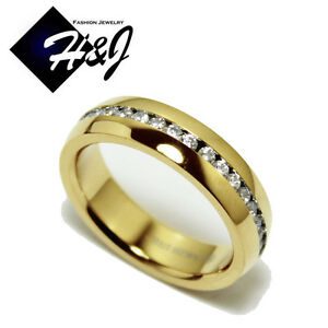 Men's Women's Gold Over Stainless Steel 6mm Silver Eternity CZ Wedding Band Ring