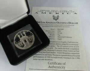 1984 USA MINT SILVER PROOF LOS ANGELES OLYMPICS DOLLAR $1  BOX & COA