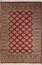 Rugstc 5x8 Bokhara Jaldar Red Area Rug, Hand-Knotted,Geometric with Silk/Wool