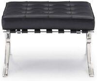 Modern Barcelona Style Ottoman Genuine leather White & Black Footstool