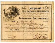 1864   $5,000   Confederate Non-Taxable Certificate  Only c. 91 issued.