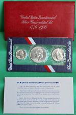 1976 3 Coin BU Bicentennial Silver Set Ike Dollar Kennedy Half Drummer Boy 25c