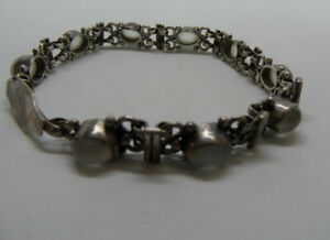 """Old Vintage STERLING SILVER Moonstone Gemstone Link Bracelet Bezel Set 8""""L 18.4g"""