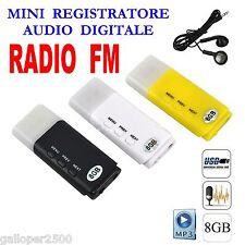 PENDRIVE USB 8GB SPIA REGISTRATORE MINI DIGITAL AUDIO RECORDER RADIO FM MP3 SPY