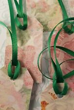 """18 Handmade floral glitter Gift tags with green ribbon 1 1/4 x 2 1/4"""""""