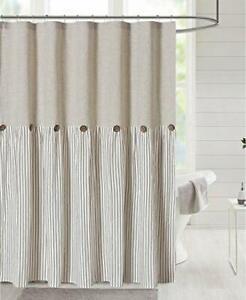 Linen Button Farmhouse Beige Shower Curtain,Linen and 72x84 Brown Stripe