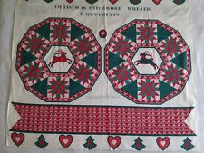 """Springs Christmas Fabric Reindeer Cheater Quilt Wreath Ornaments 45"""" x 35"""" Panel"""