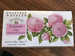 Vintage - CRABTREE & EVELYN 3 Pc Set - Rosewater - Soap with Cold Cream - 1995