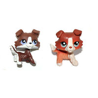 Littlest Pet Shop Red Brown White & Chocolate Puppy Collie Dog Figure Toy