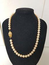 Vintage Designer 40cm Faux 7mm Pearl Necklace Goldtone Ruby Clasp 33Grams Signed