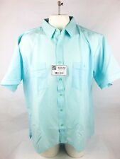 Haband Men's Button Front Shirt Sz XX Teal Polyester Short Sleeve NWT (A1L2
