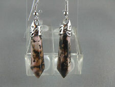 hexagonal jasper and silver plated  earrings