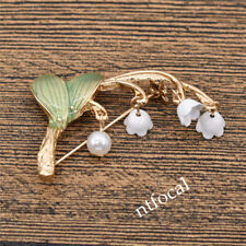 Vintage Lily Of The Valley Flower Brooch Pearl Pin Pure Jewelry Collar Costume