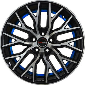 Set of 4 GWG Wheels 18 inch Black Blue Undercut FLARE Rims 5x114.3 ET40 CB74.1