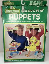 RARE Vintage 1992 Sesame Street Color Play Puppets SEALED  Big Bird Craft House