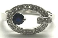 Sterling Silver Round Blue Sapphire Diamond Pave Belt Buckle Cocktail Ring Sz 7