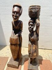 1 Women 1 Man Wooden Hand Crafted African Tribal Figure 11 inches tall