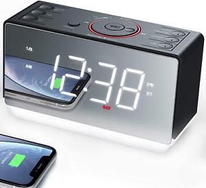 Emerson Dual Alarm Clock Radio Mirror Display USB Charging LED Decor Bluetooth